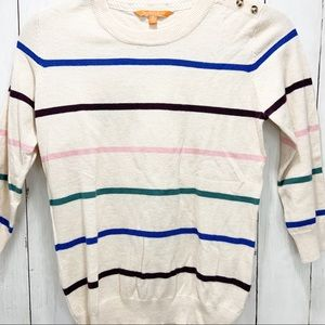 ModCloth Oatmeal Multi-Color Striped Crew Sweater
